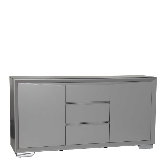 Athena - Sideboard Grey Matt Finish With Grey Frosted Glass Top