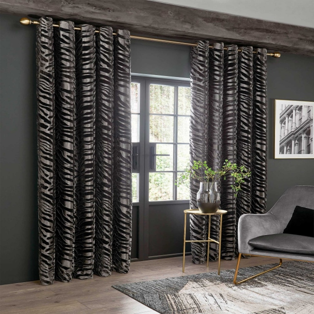 Jovan Grey Pair of Lined Eyelet Curtains