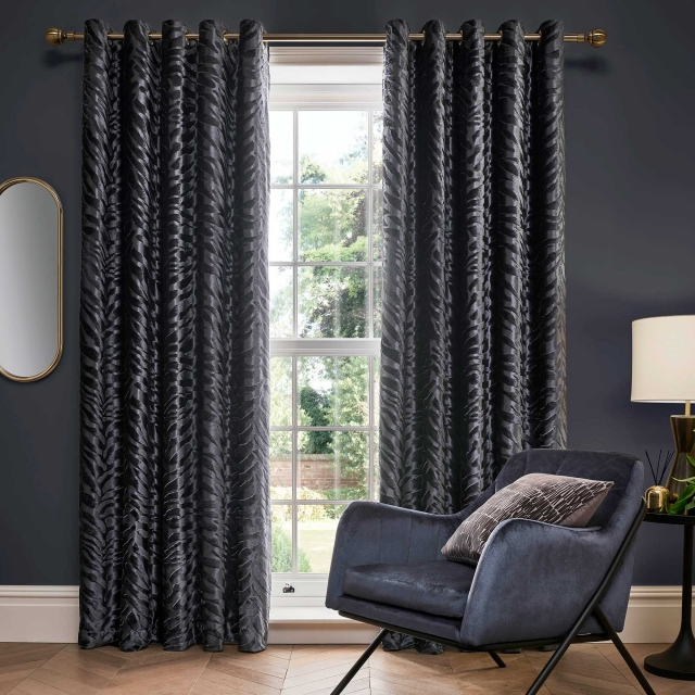 Jovan Slate Pair of Lined Eyelet Curtains
