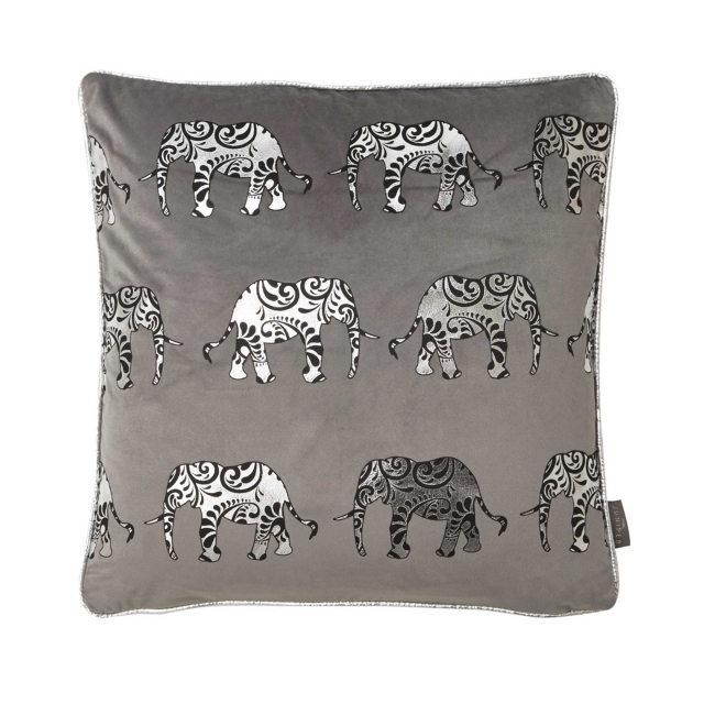Elephant Trail Cushion Black/Silver