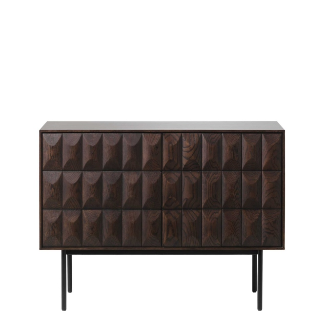 Lima - 2 Door Sideboard In Espresso Oak & Black Metal Legs