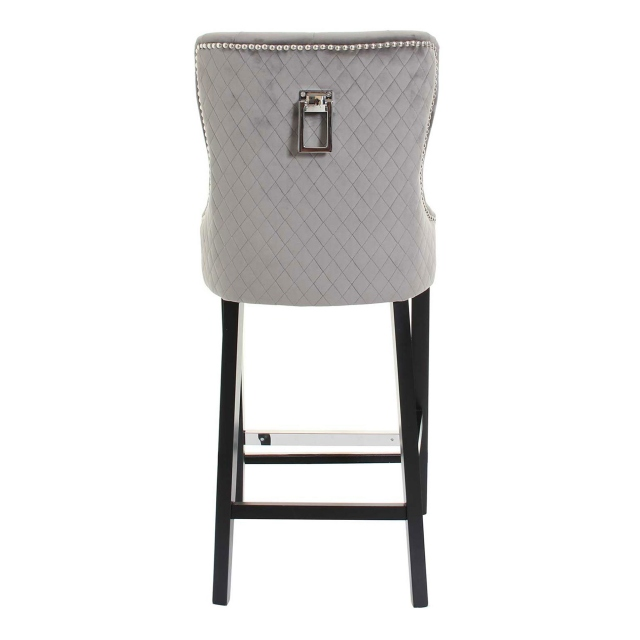 Augusta - Quilted Back Barstool In 03061 Grey Velvet Rectangular Hook