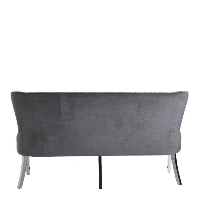 3 Seater Bench In 03061 Grey Velvet Steel Legs - Varda