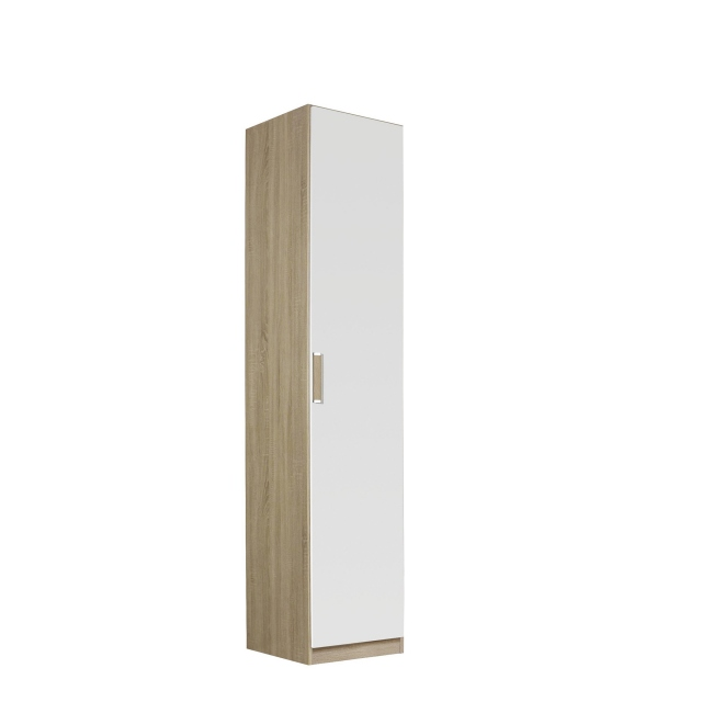 Gamma - 47cm Hinged 1 Door Robe In Glass With Vertical & Horizontal Trim 53G2
