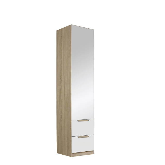 Gamma - 47cm Hinged 1 Mirror Door 2 Drawer Robe In Glass With Vertical & Horizontal Trim 57K5