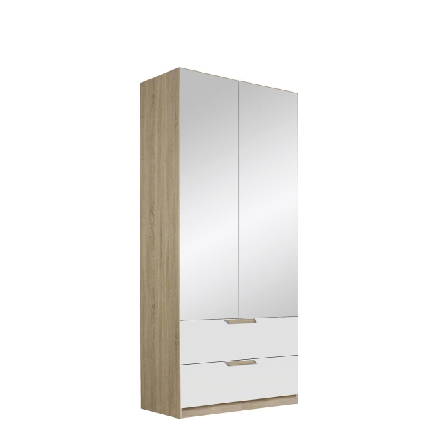 Gamma - 91cm Hinged 2 Mirror Door 2 Drawer Robe In Glass With Vertical Trim 57K6