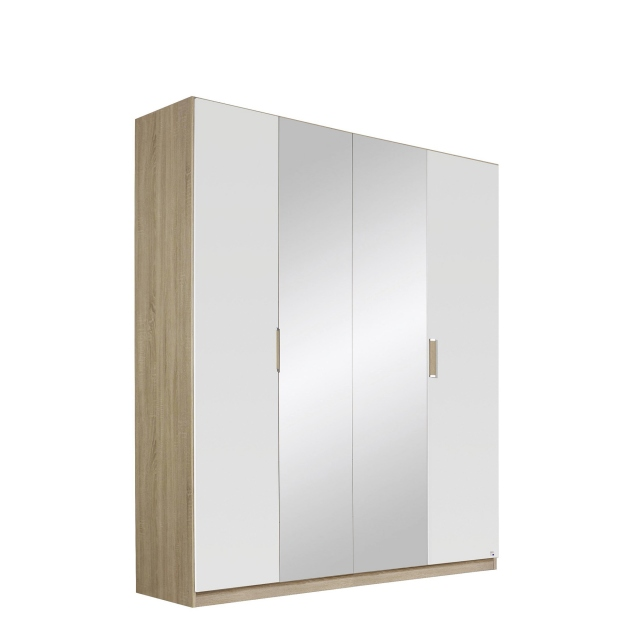 Gamma - 181cm Hinged 4 Door 2 Mirror Robe In Colour With Vertical Trim 5M06