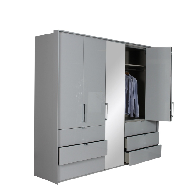 Akita  - 5J59 254cm 5 Door/1 Mirror Door, 6 Drawer Wardrobe In A197B Silk Grey/Silk Grey Glass