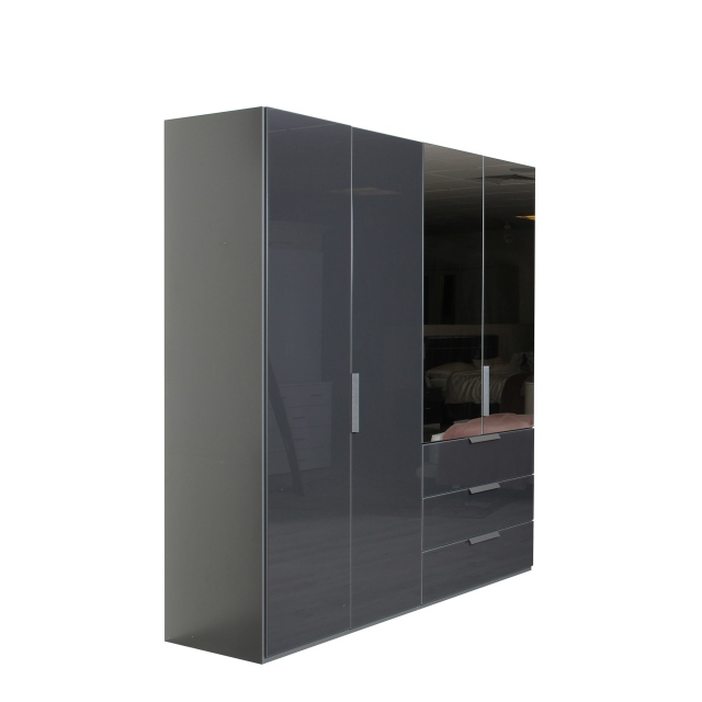 Nova  - 0RC8 201cm 4Door/3Drawer Hinged Combi Robe With Colour/Mirror Glass In A226B Graphite/Basalt