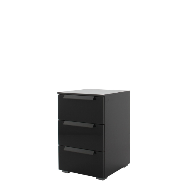 Nova  - 6G17 40cm 3 Drawer Bedside Table With Coloured Glass Front In A226B Graphite/Basalt Glass