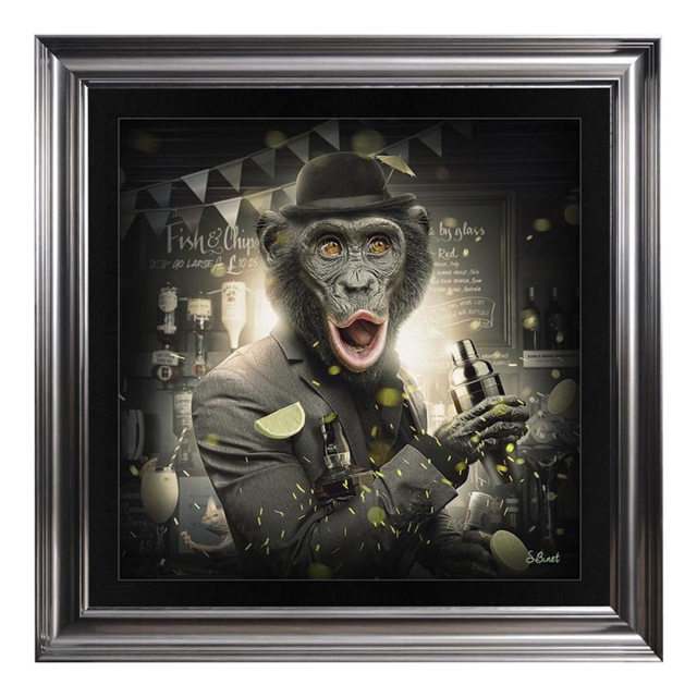 Cocktail Monkey In Metallic Vegas Frame
