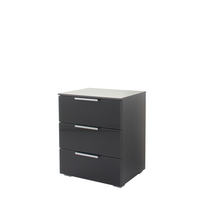 Strada - 50cm 3 Drawer Bedside Table In A037G Graphite/Basalt Glass