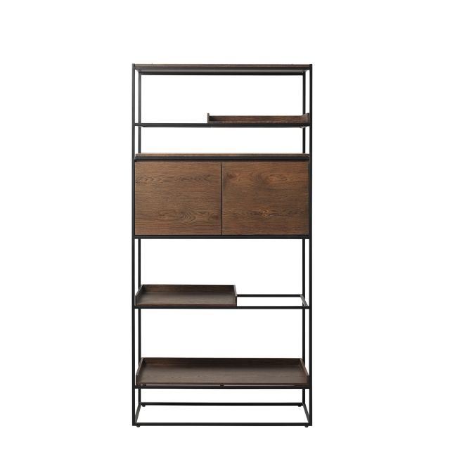 Fremont - Bookcase In Smoked Oak Finish & Black Metal Legs