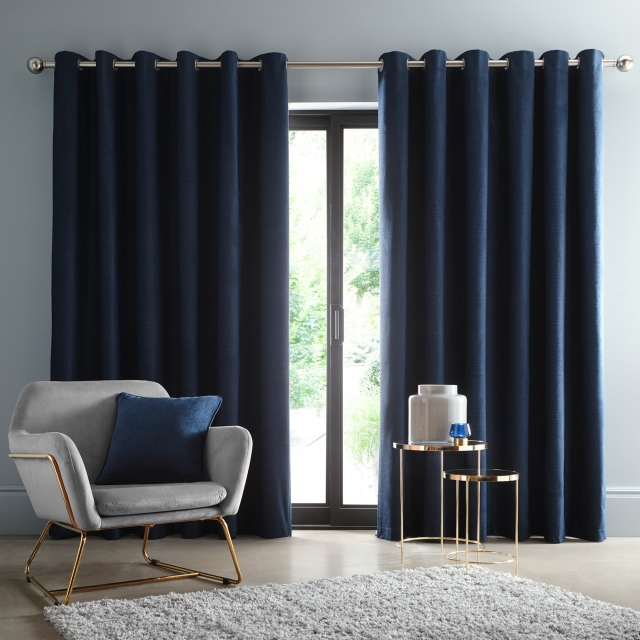 Arezzo Midnight Pair of Blackout Lined Eyelet Curtains