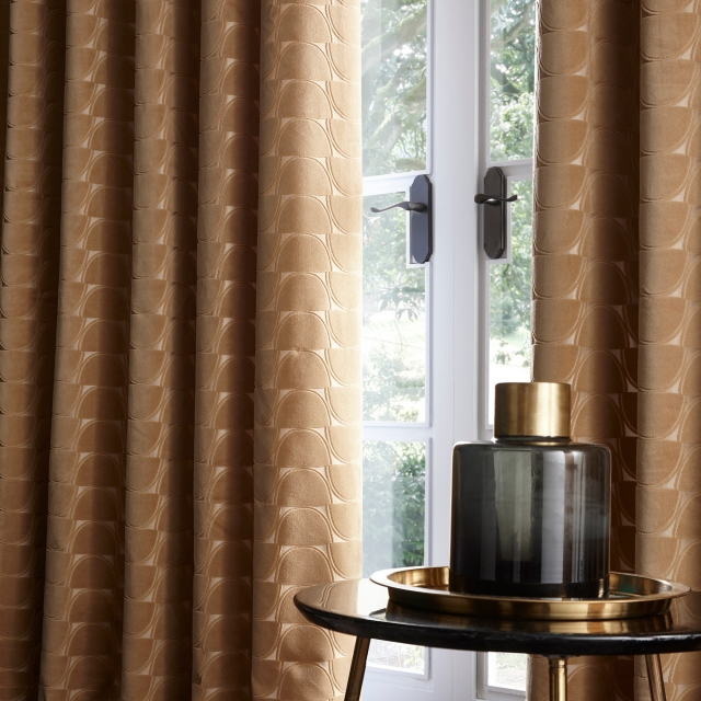 Lucca Ochre Pair of Lined Eyelet Curtains