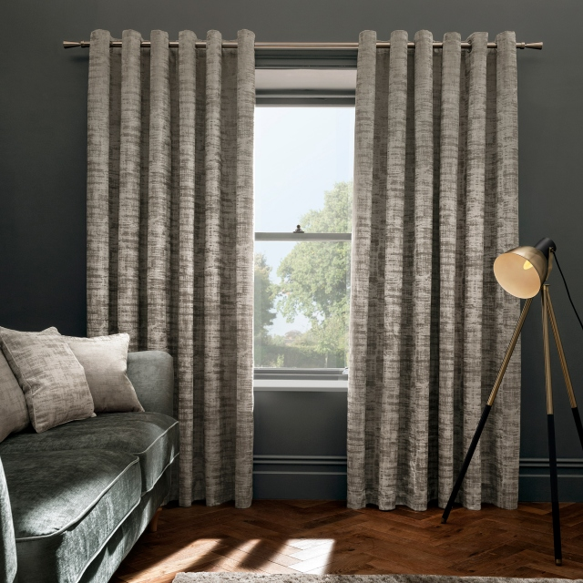 Naples Stone Pair of Lined Eyelet Curtains