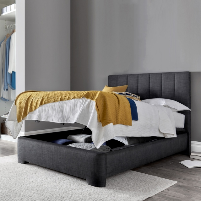 Ottoman Bed Frame In Pendle Slate - Theo