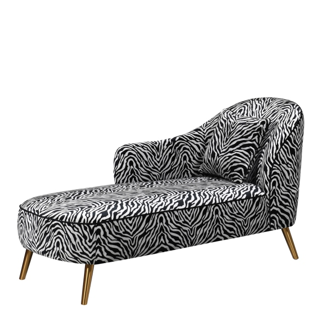 Hayworth - Chaise Longue In Zebra Fabric With Gold Metal Legs