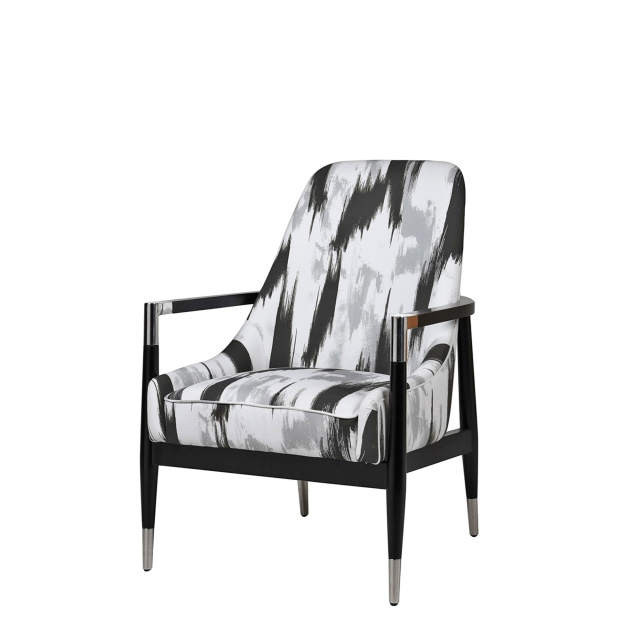Garbo - Armchair In Black, White & Grey Fabric