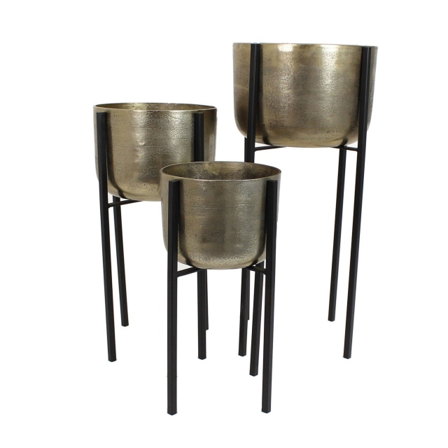 Elements Planters on Black stands Set of 3