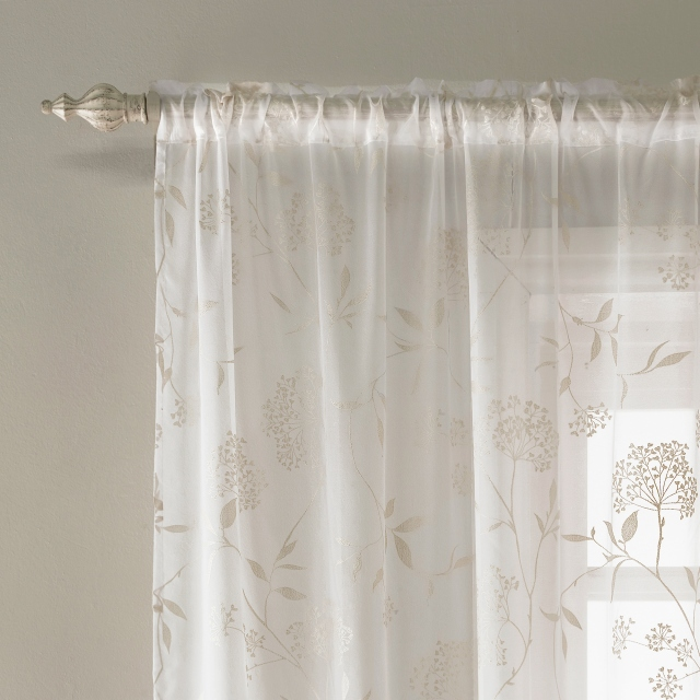 Amalfi Slot Headed Voile Panel Champagne