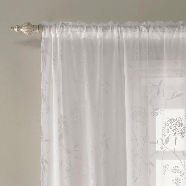 Amalfi Slot Headed Voile Panel White