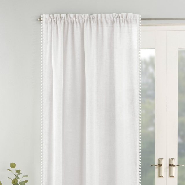 Tahiti Slot Headed Voile Panel White