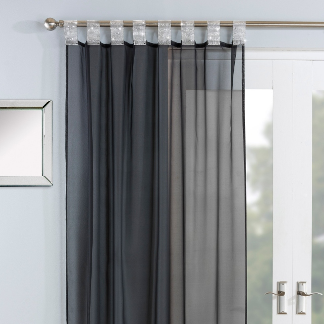 Vegas Tab Headed Voile Panel Black