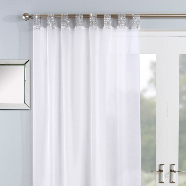 Vegas Tab Headed Voile Panel White