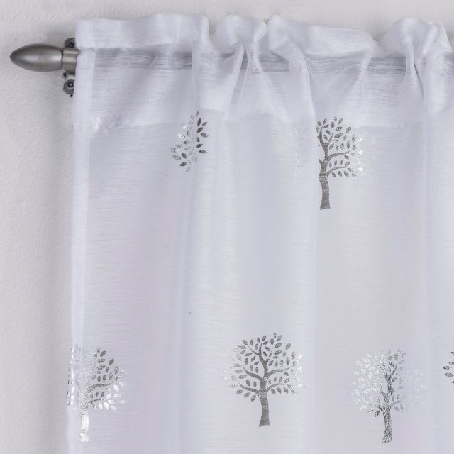Birch Slot Headed Voile Panel White