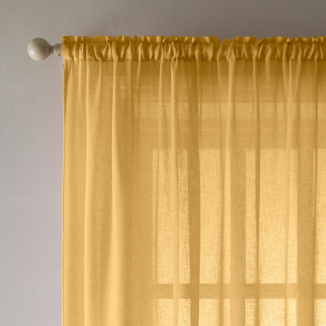 Eden Slot Headed Voile Panel Ochre