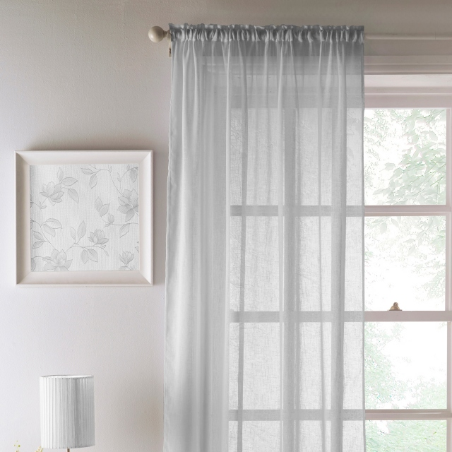 Eden Slot Headed Voile Panel Silver