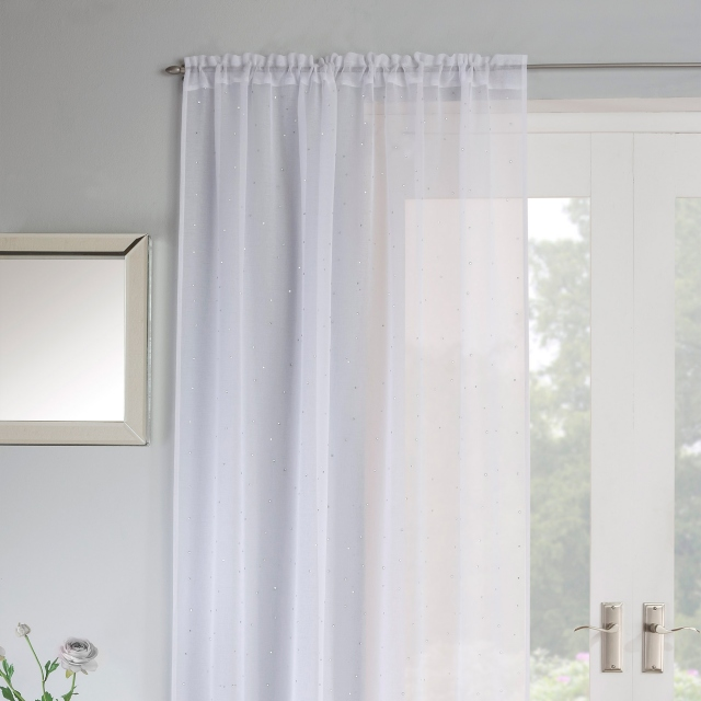 Jewel Slot Headed Voile Panel White