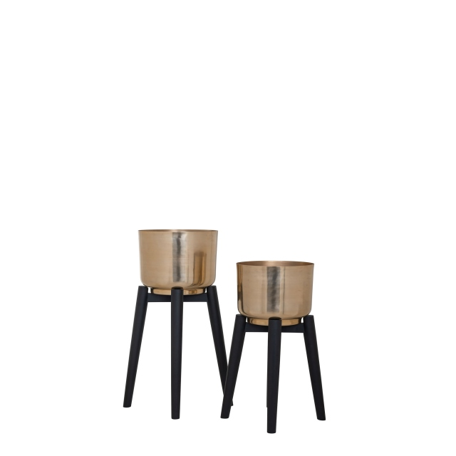 Carla - Set of 2 Planters In Gold Finish