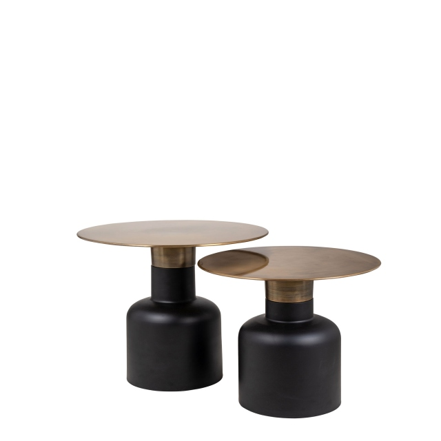 Hardy - Ø Set Of 2 Occassional Tables With A Golden Top & Black Iron Base