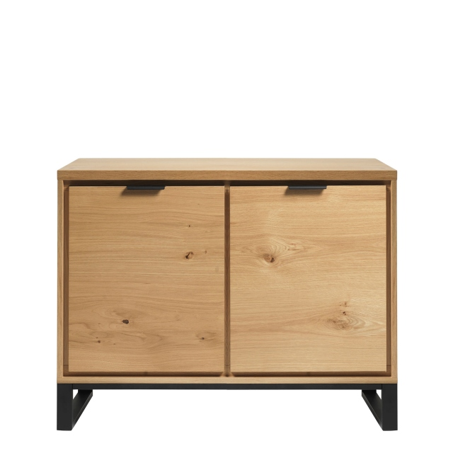 Holmwood - Small 2 Door Sideboard In Natural Brushed Oak & Black Legs