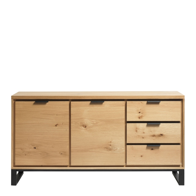 Holmwood - Large 3 Door Sideboard In Natural Brushed Oak & Black Legs