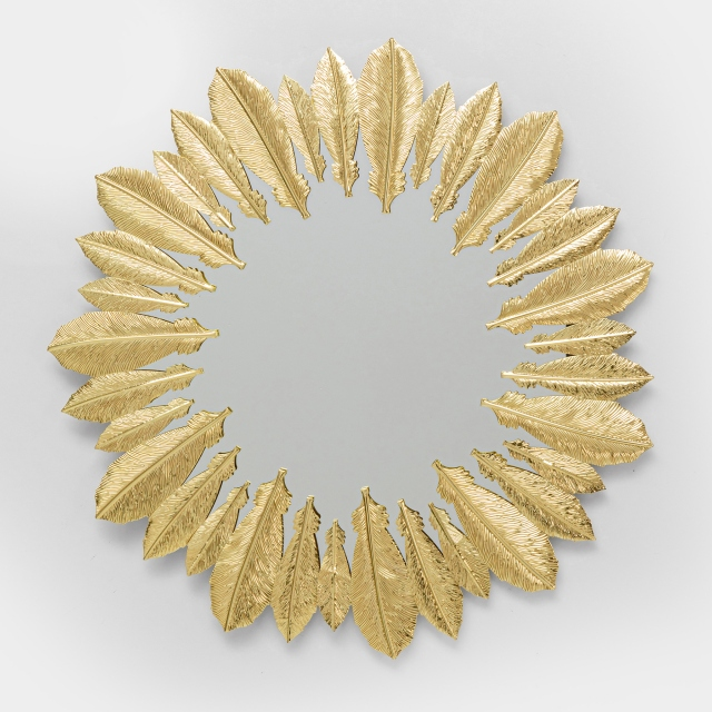 Feather Wall Mirror Gold 49cm