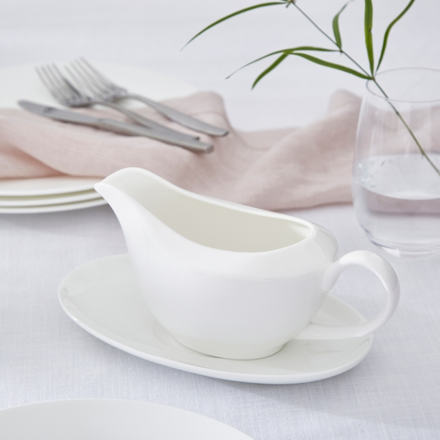 Serendipity White Gravy Boat and Stand