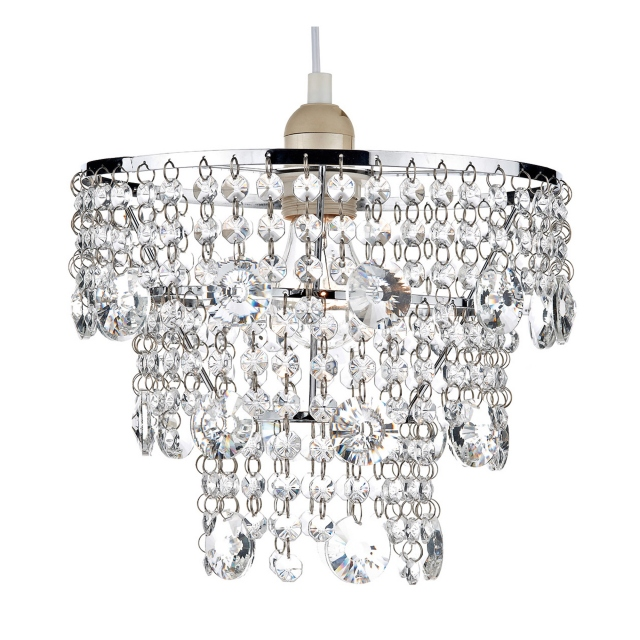 Cybil 3 Tier Chrome Pendant Shade Crystal Decorations