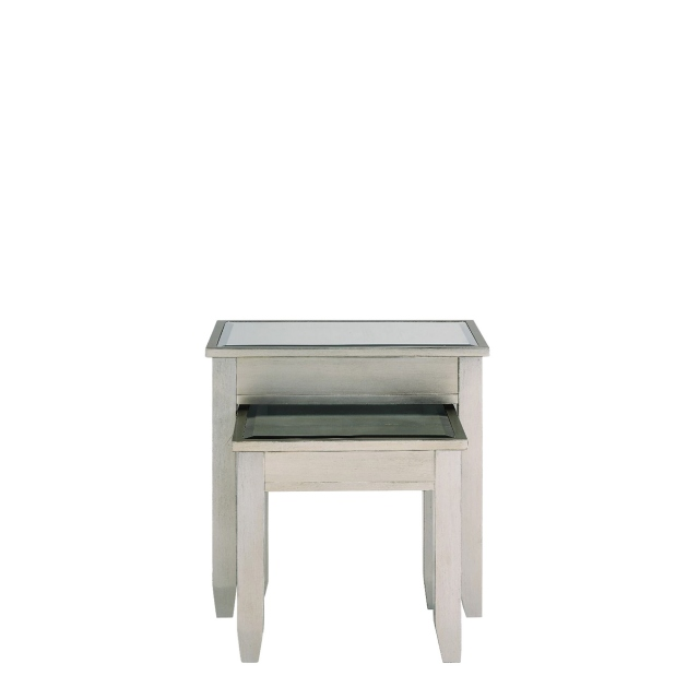 Nest Of Tables -Silver Paint & Mirror - Simone